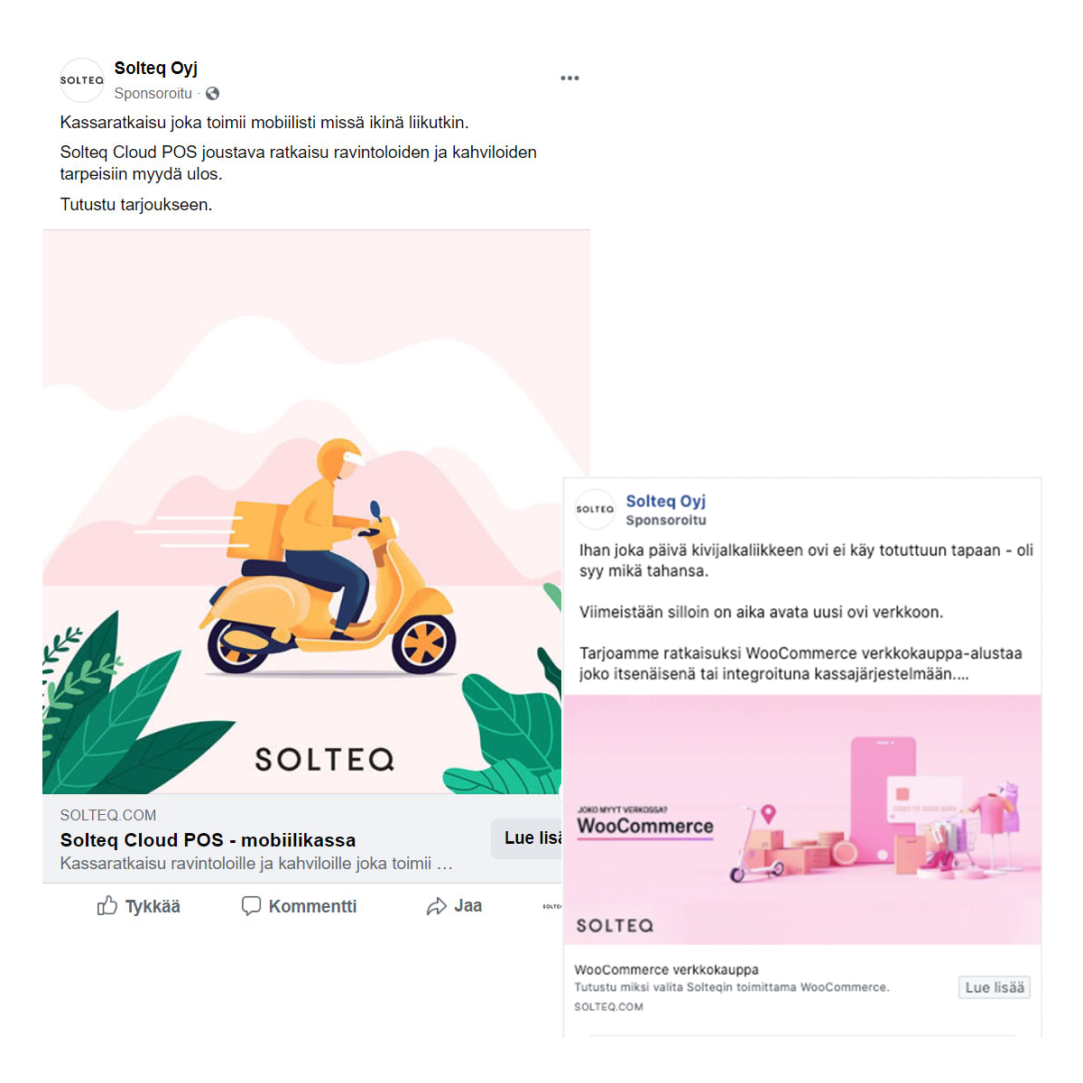 Solteq's social media ads on Facebook