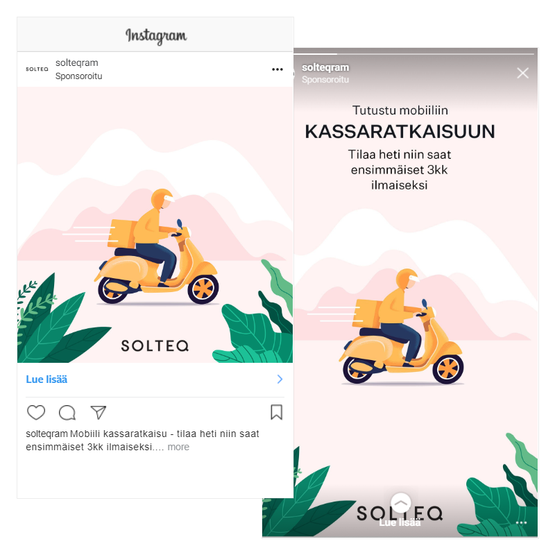 Solteq's Cloud POS themed Instagram ad