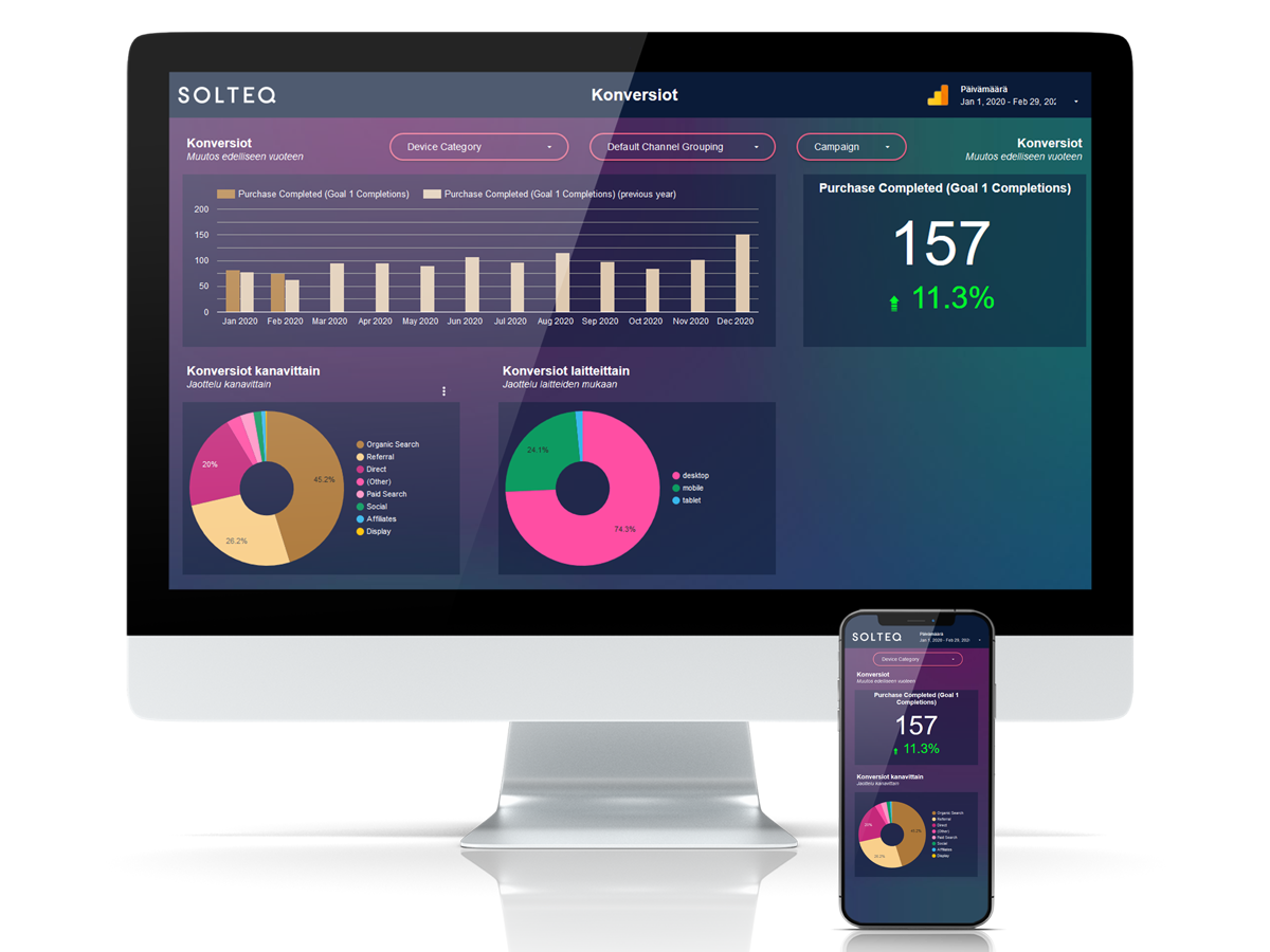 Solteq Data Studio report on computer and phone screen