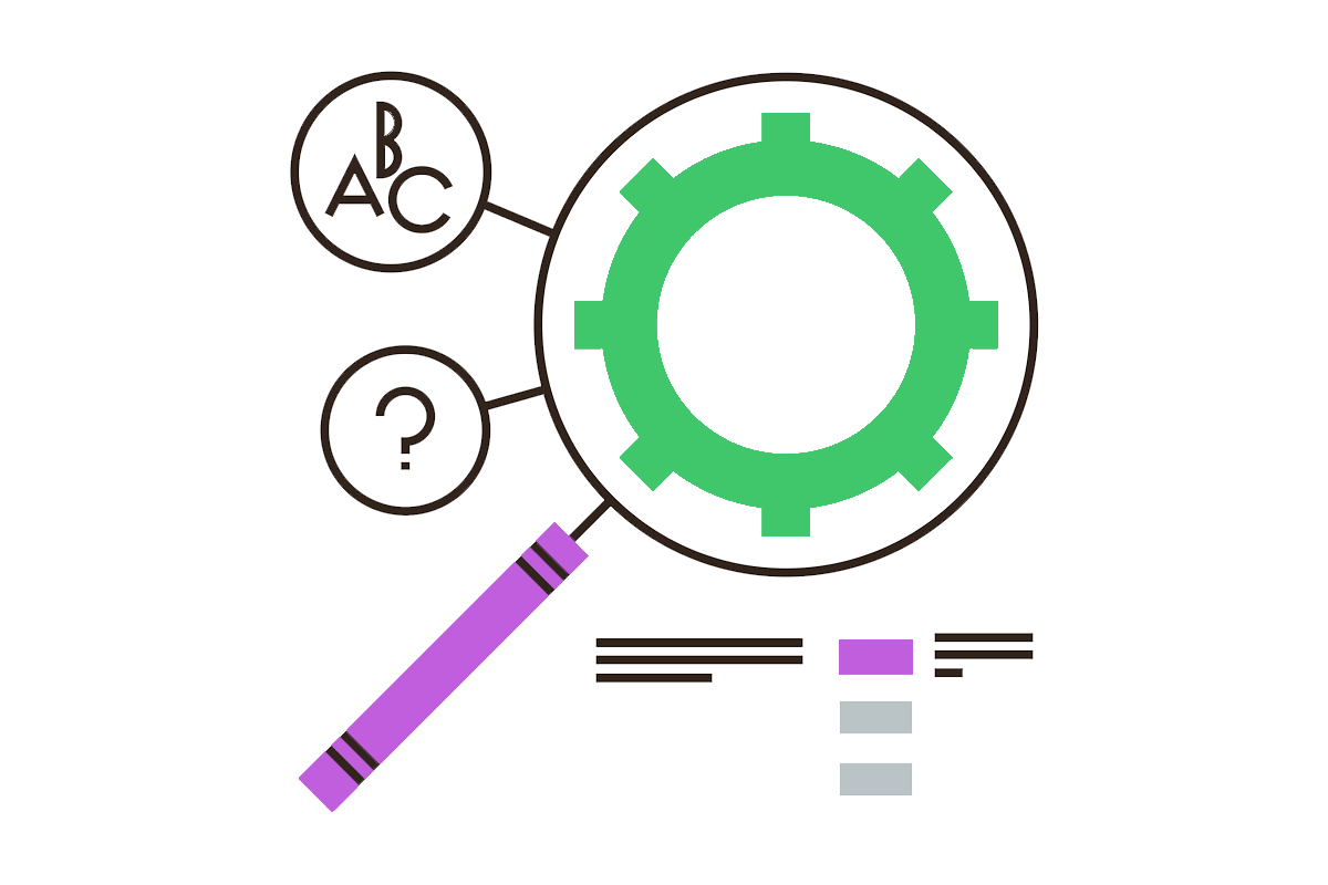 Analytics tools flat line icon where a magnifying glass lens inside a cogwheel