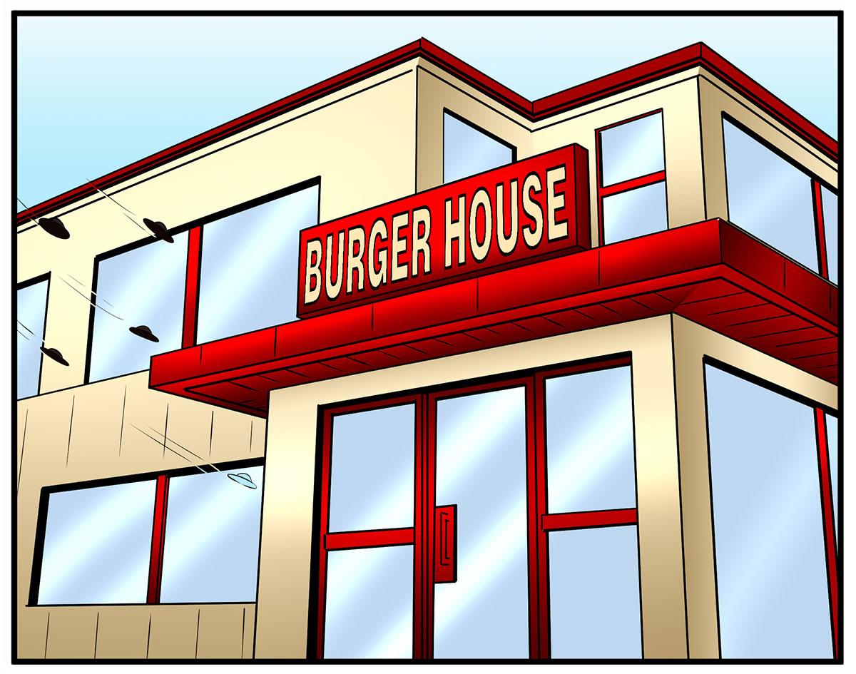 UFOt hyökkää ravintolaan missä on Solteq Cloud POS käytössä - sarjakuva Burger House nimisestä pikaruokalasta