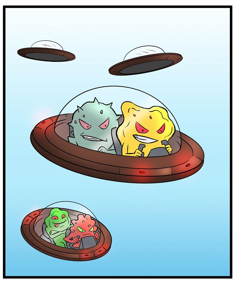 sarjakuva missä ufoja lennossa joita ohjastaa bakteerit ja virukset