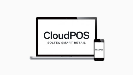 Solteq Cloud POS system on a laptop and mobile device