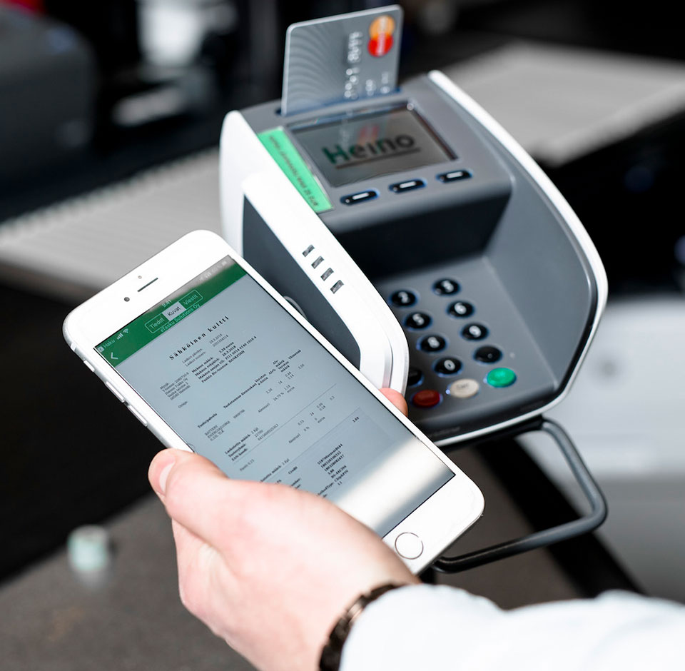 Heinon Tukku - Payment terminal and digital receipt in mobile screen