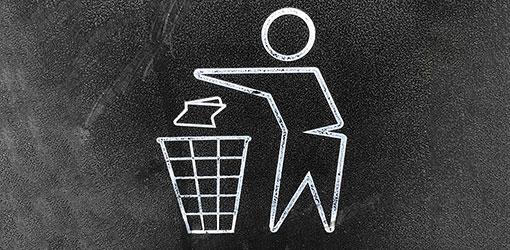 Ikon for skraldespand på asfalt