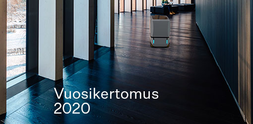 Solteqin vuosikertomuksen kansilehti minkä kuvassa Solteq Logistiikka Robotti