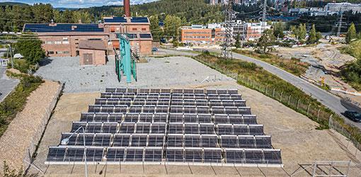 Solar panels on a field