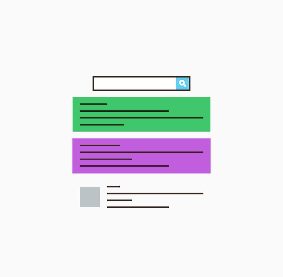 Hakusanamainonnan kuvituskuva missä hakusanamainokset hakutulosten joukossa