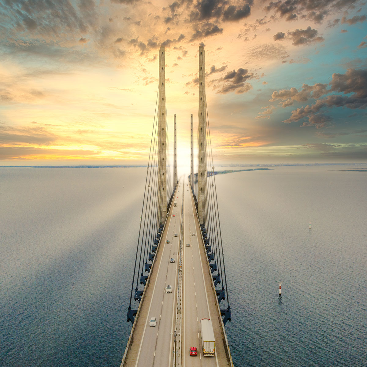 Oresundsbro bridge between Denmark and Sweden at sunset