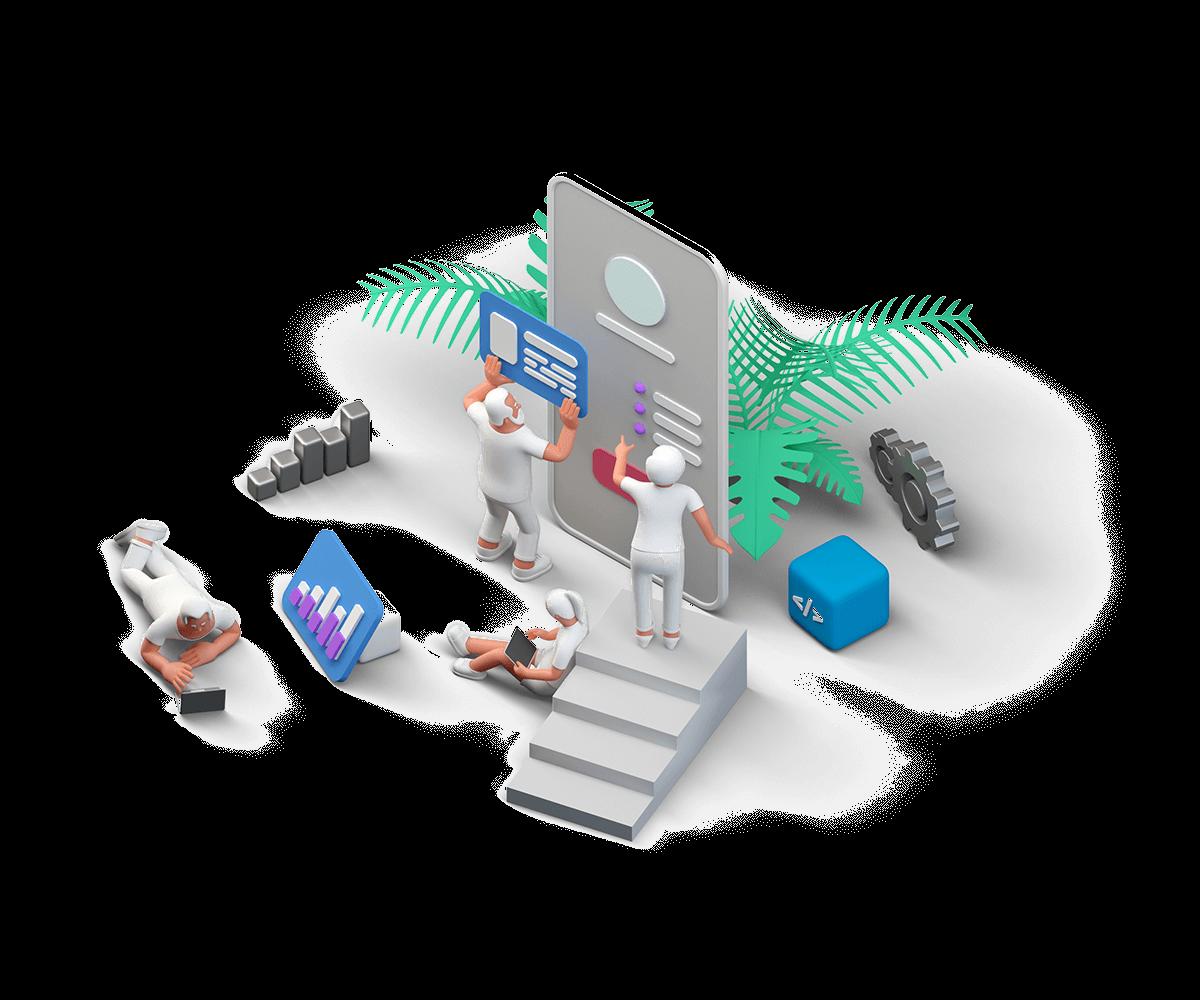 Kuvituskuvassa rakennetaan Liferay Digital Experience Platformilla B2B verkkokauppaa mobiilissa