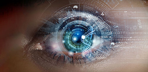 Close up of an eye with overlay of deep vision information from ecommerce store