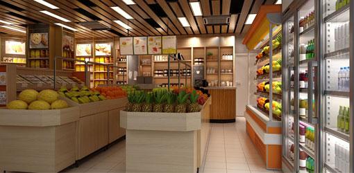 Modeled plan of store premises