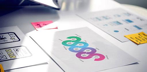 Design Thinking -prosessbilde på et bord sammen med UX -mønster