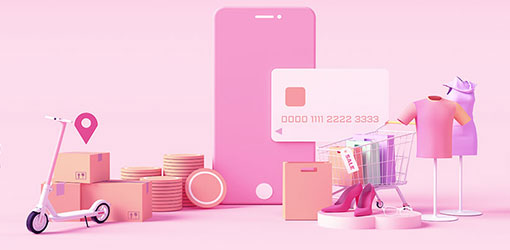 WooCommerce verkkokauppaan liittyviä elementtejä kuvitettuna pinkillä taustalla kuten matkapuhelin, verkkokaupan tuotteita, luottokortti, rahaa ja paketteja sekä ostoskärryt